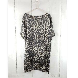 Club Monaco Lillian Silk Leopard Shift Mini Dress